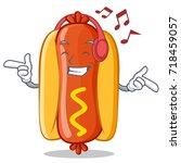 listening music hot dog cartoon ...   Shutterstock .eps vector #718459057