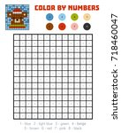 color by number  education game ... | Shutterstock .eps vector #718460047