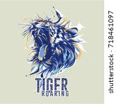tiger roaring curve edition | Shutterstock .eps vector #718461097