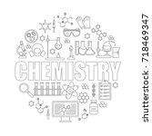 set of chemistry icons | Shutterstock .eps vector #718469347