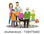 big cartoon family isolated on... | Shutterstock .eps vector #718475683