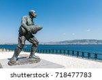 statue of famous turkish... | Shutterstock . vector #718477783