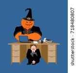 businessman scared under table... | Shutterstock .eps vector #718480807