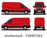realistic cargo van. front view ... | Shutterstock .eps vector #718487263