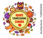 autumn thanksgiving card with...   Shutterstock .eps vector #718503343