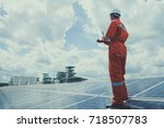 engineer working on checking... | Shutterstock . vector #718507783