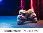 theater masks  drama and comedy ... | Shutterstock . vector #718511797