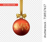 xmas balls red and gold color.... | Shutterstock .eps vector #718517617