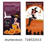halloween poster template for... | Shutterstock .eps vector #718522513