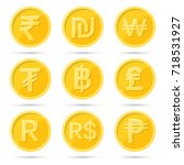 set of icons coins on the... | Shutterstock .eps vector #718531927