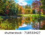 red and orange autumn foliage... | Shutterstock . vector #718533427