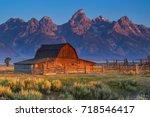 sunrise of historic moulton... | Shutterstock . vector #718546417
