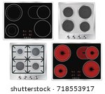 cook top. collection of various ... | Shutterstock .eps vector #718553917