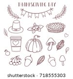 thanksgiving day set with... | Shutterstock .eps vector #718555303