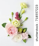 flowers composition with place... | Shutterstock . vector #718557223