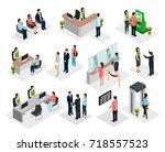 isometric people in bank... | Shutterstock .eps vector #718557523