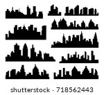 set of  cities silhouette.... | Shutterstock . vector #718562443