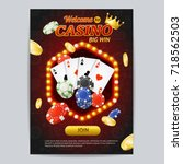 casino gambling game poster... | Shutterstock .eps vector #718562503