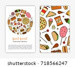 card templates with doodle... | Shutterstock .eps vector #718566247