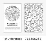 card templates with doodle... | Shutterstock .eps vector #718566253