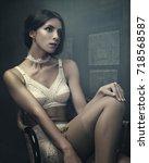 sensuality. beauty brunette ...   Shutterstock . vector #718568587