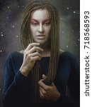 demiurge. art female portrait... | Shutterstock . vector #718568593