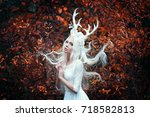 beautiful mystery gothic woman... | Shutterstock . vector #718582813