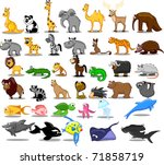 extra large set of animals... | Shutterstock .eps vector #71858719