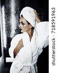 pretty brunette in white...   Shutterstock . vector #718591963