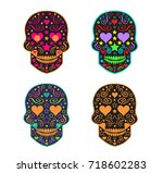 day of the dead skull and... | Shutterstock .eps vector #718602283
