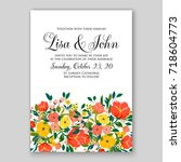 floral wedding invitation... | Shutterstock .eps vector #718604773