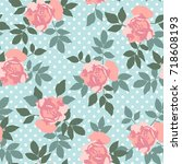 hand drawn pink roses  vector... | Shutterstock .eps vector #718608193