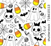 halloween seamless pattern with ... | Shutterstock .eps vector #718610113
