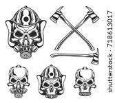 isolated illustration of skulls ... | Shutterstock .eps vector #718613017