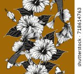 koi fish and hibiscus flower...   Shutterstock .eps vector #718614763