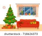 christmas room interior in... | Shutterstock .eps vector #718626373