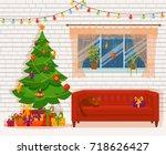 christmas room interior in... | Shutterstock .eps vector #718626427