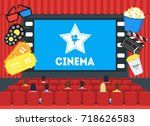 cartoon cinema concept... | Shutterstock .eps vector #718626583