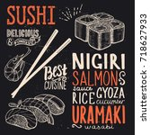 sushi menu for restaurant and... | Shutterstock .eps vector #718627933