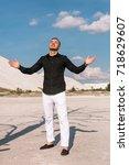 business man standing on the... | Shutterstock . vector #718629607