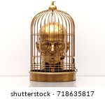 man with a cage on his head ... | Shutterstock . vector #718635817