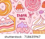 thank you pastry background... | Shutterstock .eps vector #718635967