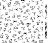 doodle bear  cat and a bird...   Shutterstock .eps vector #718636003