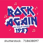 rock again  slogan with pearl  | Shutterstock .eps vector #718638097