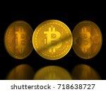 golden bitcoin tokens on black... | Shutterstock . vector #718638727