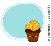 cute cake  cartoon character ... | Shutterstock .eps vector #718656457