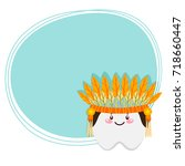 cute tooth  native american ... | Shutterstock .eps vector #718660447