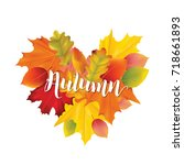 colorful autumn leaves... | Shutterstock .eps vector #718661893