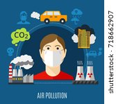 air pollution concept with... | Shutterstock .eps vector #718662907