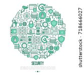 security and protection concept ... | Shutterstock .eps vector #718666027